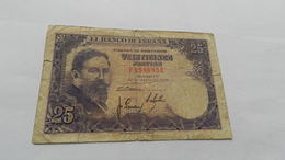 Billet  25 Pesetas   Numéros  F  9988852   De  22 Julio  1954 - [ 3] 1936-1975 : Regency Of Franco