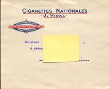 Tabac, Envelope Cigarettes Nationales J. Vidal   (bon Etat) - Documents