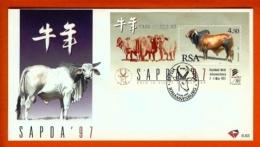 RSA, 1997, Mint F.D.C., MI 6-63, Block 54, SAPDA (rinder) - Brieven En Documenten