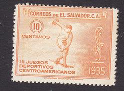 El Salvador, Scott #540, Mint Hinged, Discus Thrower, Issued 1935 - El Salvador