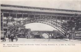 New York City Harlem Elevated Train Manhattan Ave & 125th St, Billboard, C1900s Vintage Postcard - Harlem