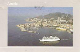 20. (2A) CPM. Corse Du Sud. Ajaccio. Vue Aérienne Du Port, Départ D'un Bateau De La SCM, Un Corsica Ferry à Quai - Ajaccio