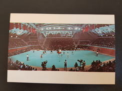 """SOVIET SPORT. Volleyball """"Druzhba""""   Complex In Moscow.  Olympic Games 1980 -OLD Postcard - Rare Martini Edition - Volleyball"""