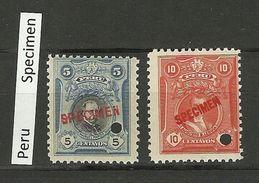 PERU SPECIMEN 2 Stamps MNH - Peru
