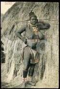 OLD TRIMMED POSTCARD ZULU GIRL SOUTH AFRICA Femme Noir  Seins Nue Nu - Black Nude Breasts Woman AFRIQUE - Afrique