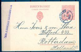 SUECIA 1921 , ENTERO POSTAL CIRCULADO ENTRE KARLSHAMN Y ROTTERDAM - Postal Stationery