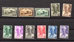 1935  Malle-poste, Deuil Reine Astrid, 407 / 409** + 411 / 418**, Cote 40 € - Belgique