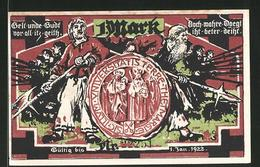 Notgeld Marne 1922, 1 Mark, Stadtwappen Und Heer, Kirche - [11] Lokale Uitgaven