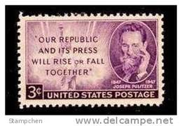 """1947 USA """"J.Pulitzer""""  Stamp Sc#946 Statue Of Liberty Famous - United States"""