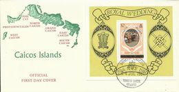 Caicos Islands 1981 Royal Wedding Souvenir Sheet FDC - Stamps