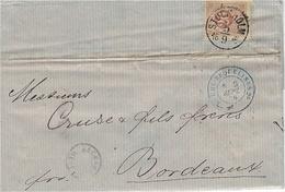 1876- Letter From STOCKHOLM   To Bordeaux ( France )  Fr. 20 Ore  +blue  French Entrée SUEDE-ERQUELINES  2° - Svezia