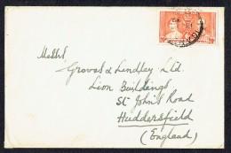 George VI Coronation 20 C SG 129 On Letter To UK - Kenya, Uganda & Tanganyika