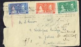 George VI Coronation Complete Set Of 3 SG 128-130 On Letter To Newfoundland - Kenya, Uganda & Tanganyika