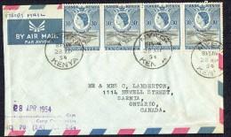 Eliz II 30 C. X4 On 1954 Air Mail Forces Letter To Canada  From Nyeri, Kenya - Kenya, Uganda & Tanganyika