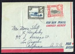 Air Letter To USA   Geoger VI 15 C. + 3/-   SG 137, 147a - Kenya, Uganda & Tanganyika
