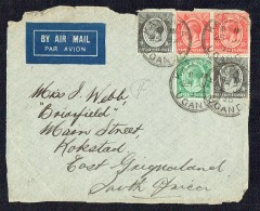 1935  Letter Front Only From Kampala, Uganda To South Africa    SG 78, 80 X2, 82 X2 - Kenya & Uganda