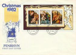 Penrhyn 1982  Christmas Miniature Sheet FDC - Penrhyn
