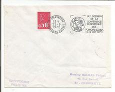 1 ER JOUR FLAMME CESSION CONFERENCE EUROPEENNE DES POUVOIRS LOCAUX STRASBOURG 1972 - Oblitérations Mécaniques (flammes)