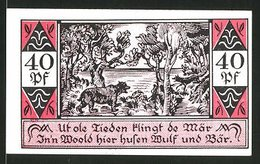 Billet De Nécessité Westerhorn 1921, 40 Pfennig, Wolf Et Bär - [11] Emissions Locales