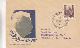 Pologne - Lettre De 1937 - Oblit Warsawa - Andrzej Strug - Covers & Documents