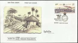 150 Years Of Indian Railways FDC 2002             CLOCK Watch Cancel      Indien Train Eisenbahn Bahn Railroad India - Trains