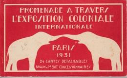"""17 / 8 / 357  -    CARNET  DE  24  CARTES  """"  PARIS  1931  """"  Promenade  A  Travers  L'exposition  Coloniale  """" - 5 - 99 Postcards"""