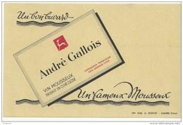 BUVARD NEUF SUPERBE  THEME  VIN/MOUSSEUX MAISON ANDRE GALLOIS - Liquor & Beer