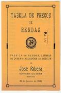 Price List * Tabela De Preços De Rendas * JR * Senhora Da Hora * 1949 * Portugal * Holed - Portugal