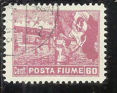 FIUME 1919 ALLEGORIE E VEDUTE POSTA FIUME 60 CENT. TIMBRATO USED OBLITERE' - 8. Occupazione 1a Guerra