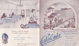 PALMA DE MALLORCA CALLE MASSANET CHAFLAN OLMOS HOTEL CATALONIA DIRECTEUR E PEDRET PETIT DEPLIANT PUBLICITAIRE ANNEE 50 - Espagne