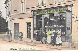 """77 VILLENOY TRES RARE CPA 1906 """"EPICERIE / VINS ET LIQUEURS"""" (PLACE DES TROIS TILLEULS) - Villenoy"""