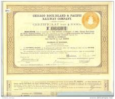 Chicago Rock-island & Pacific Railway Company Of US $ 1,000.00 AMSTERDAM 1934 * AANDEEL SHARE * 8843 * - Railway & Tramway