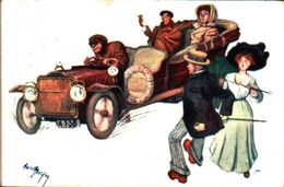 Attribuée à Illustrateur Canpory - Personnages Voiture Arriviste BKWI 324-6 - Autres Illustrateurs