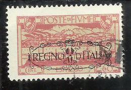 FIUME 1924 SAN VITO SOPRASTAMPATO OVERPRINTED ANNESSIONE ALL´ITALIA ESPRESSO SPECIAL DELIVERY CENT. 60 USATO USED OBLIT - Fiume