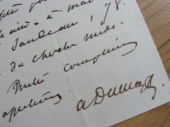 Alexandre DUMAS Fils (1824-1895) Romancier [ DAME Aux CAMELIAS] - AUTOGRAPHE - Autographes