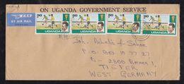 Uganda 1978 Airmail Cover ENTEBE To BREMEN Germany 4x 50c Soccer Stamps Attractive - Uganda (1962-...)