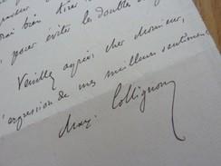 Maxime COLLIGNON (1849-1917) ARCHEOLOGUE. Grèce. Membre INSTITUT. Académie INSCRIPTIONS & Belles Lettres. AUTOGRAPHE - Autographs