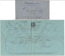 1866 - TELEGRAMME PRIVE Dans ENVELOPPE De BREY Pour NICE (Alpes Maritimes) Adressé à Un Avocat - Postmark Collection (Covers)