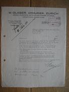 ZURICH 1942 - W. GLASER - Armurier - Armes, Munitions, Articles De Chasse - Switzerland
