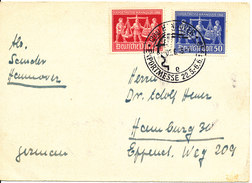 Germany Card Hannover Messe 22-5 - 6-6-1949 With Complete Set Sent To Hamburg - Amerikaanse, Britse-en Russische Zone