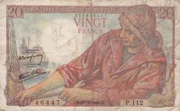 FRANCE BILLET DE 20 FRANCS PECHEUR DE 1944 ALPHABET P.112 - 1871-1952 Anciens Francs Circulés Au XXème