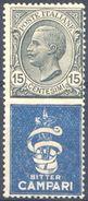 1924-25 PUBBLICITARIO BITTER CAMPARI CENT. 15 N.1 NUOVO* - MH - Pubblicitari