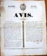 Epidémie De Choléra. Affiche De La Mairie D'Aix. 1835 - Documents Historiques