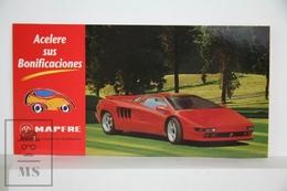 Spanish Mapfre Insurance Advertising Postcard - Red Sport Classic Car Lamborghini Diablo - Voitures De Tourisme