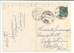 ITALIE OBLITERATION SUR CARTE TORITTO BARI DU 22/11/1957 - Affrancature Meccaniche Rosse (EMA)