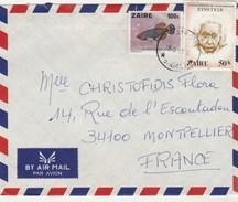 ZAIRE Lettre Avion 18/6/1981 Pour Montpellier France - Poisson Einstein ( Angle Froissé ) - 1980-89: Oblitérés