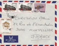 ZAIRE Lettre Avion  1981 Pour Montpellier France - Trains Poisson Einstein ( Abimé ) - 1980-89: Oblitérés