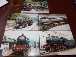 B669  5 Foto Vecchie Locomotive Cm15x10 - Fotografia