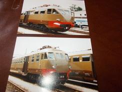 B669  2 Foto Vecchie Locomotive Cm15x10 - Fotografia