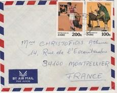 ZAIRE Lettre Avion  1981 Pour Montpellier France - Art Peinture Norman Rochwell - Sport Indépendance US - 1980-89: Oblitérés